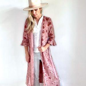 Dusty Pink Raised Velvet Open Front Kimono Duster